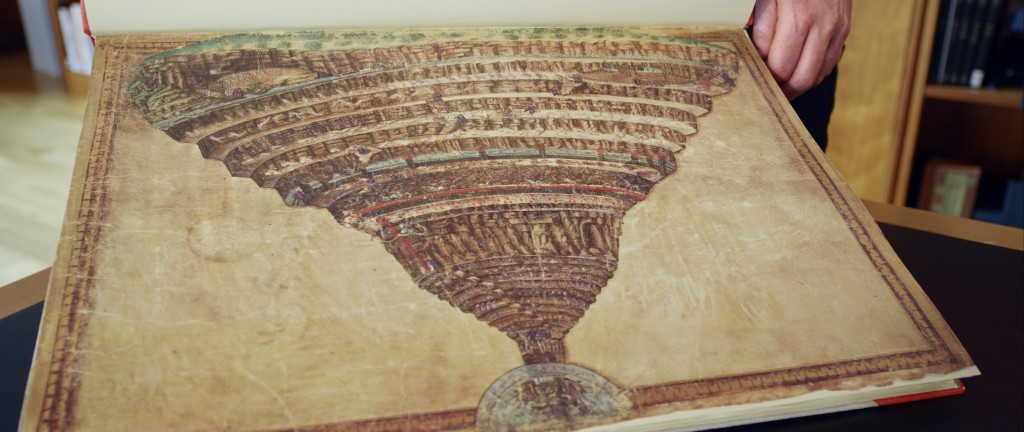 'Mappa dell'Inferno' of Sandro Botticelli in Facsimile, Berlin. Original stored at the Vatican.