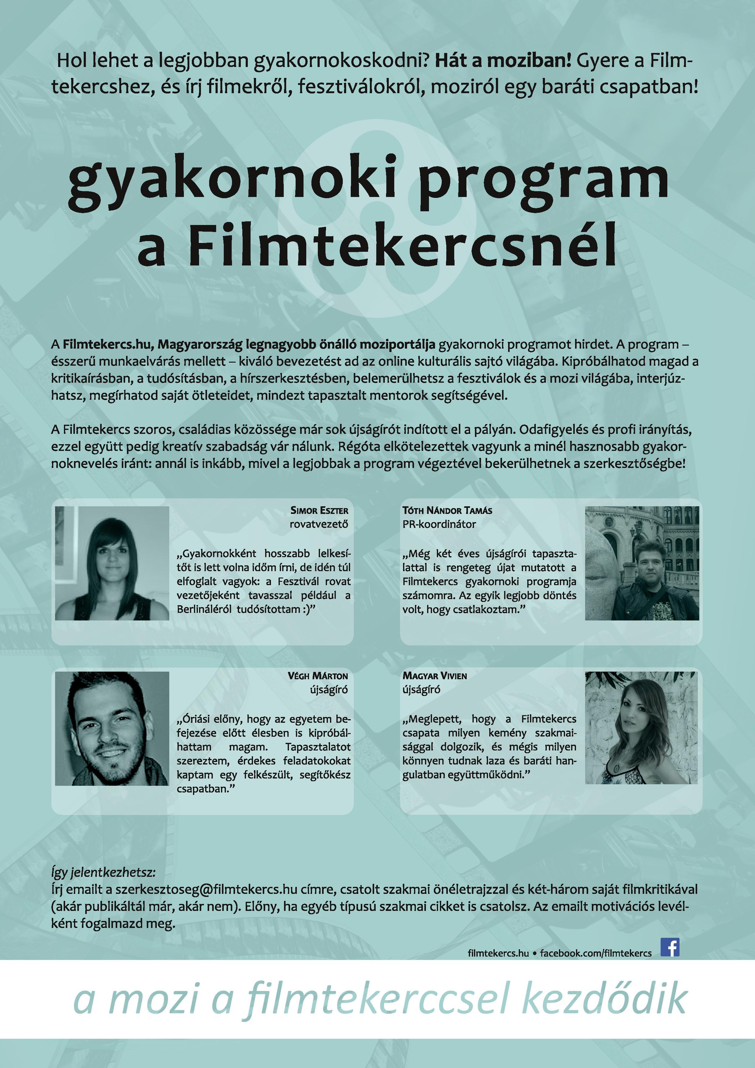 Gyakornoki program (Filmtekercs.hu)